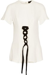 Proenza Schouler Lace Up Stretch Jersey Top Off White