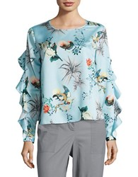 Context Ruffled Sleeve Bird Print Top Multi