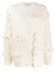 Stella Mccartney Fringed Knit Jumper White