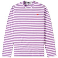 Comme Des Garcons Play Little Red Heart Long Sleeve Striped Tee Purple
