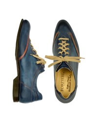 Forzieri Men's Blue Handmade Italian Leather Lace Up Shoes