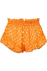 Caroline Constas Ruffled Polka Dot Chiffon Shorts Orange