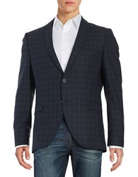 Selected Plaid Two Button Jacket Dark Navy