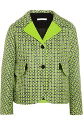 Carven Checked Cotton Blend Tweed Jacket Green