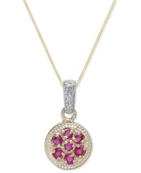 Macy's Ruby 3 8 Ct. T.W. And Diamond Accent Pendant Necklace In 14K Gold