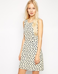 Pussycat London Dress In Conversational Print Cream