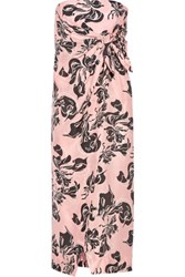 Cedric Charlier Printed Washed Silk Midi Dress Pastel Pink