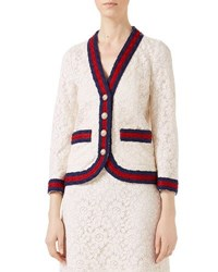 Gucci Cluny Lace Jacket With Web White Neutral Pattern