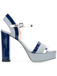 Pollini Platform Buckled Sandals Grey