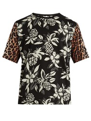 Saint Laurent Hibiscus And Leopard Print T Shirt Black Multi