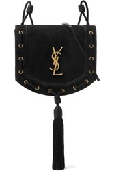 Saint Laurent Monogramme Fetish Suede Shoulder Bag Black