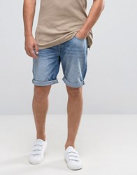 Selected Denim Shorts In Washed Blue Blue