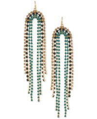 Trina Turk Gold Tone Crystal Fringe Chandelier Earrings Blue
