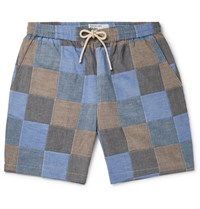 Universal Works Patchwork Slub Cotton Drawstring Shorts Blue