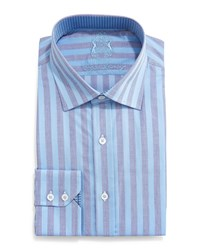 English Laundry Striped Woven Dress Shirt Blue Grey