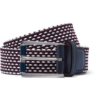 Berluti Leather Trimmed Woven Cotton Belt Burgundy