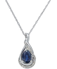 Macy's Sapphire 9 10 Ct. T.W. And Diamond Accent Pendant Necklace In 14K White Gold Blue