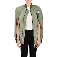Unravel Project Srl Women's Distressed Insulated Bomber Cape Dark Green