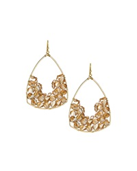 Nakamol Geometric Crystal Dangle Earrings Cream Gold