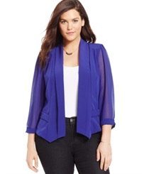 City Chic Plus Size Chiffon Sleeve Blazer Iris