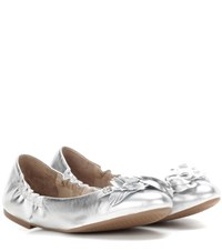 Tory Burch Blossom Metallic Leather Ballerinas Silver