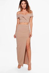 Boohoo Off Shoulder Crop And Maxi Skirt Co Ord Set Sand
