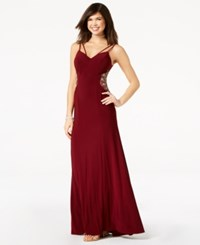B. Darlin B Juniors' Embellished Inset Strappy Gown Wine
