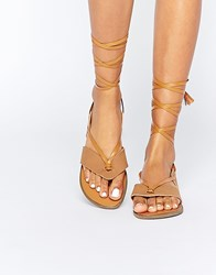 Truffle Collection Beryl Ankle Tie Toepost Flat Sandals Tan Pu