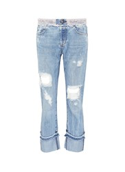Tortoise 'Herma' Faux Pearl Roll Cuff Ripped Jeans Blue