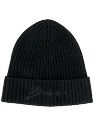Balmain Logo Embroidered Beanie Black