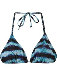 Blue Man Abstract Print Triangle Bikini Top
