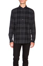Blk Dnm Half Placket Overdyed Check Shirt In Black Gray Checkered And Plaid