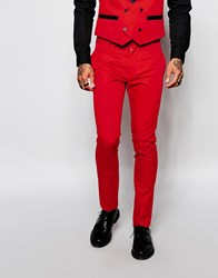 Religion Suit Trousers In Skinny Fit Red