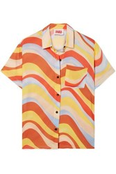 Solid And Striped Cabana Printed Voile Shirt Sky Blue