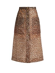 Christopher Kane Leopard Print Frosted Rubberised Midi Skirt Brown Print