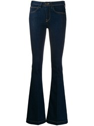 L'autre Chose Flared Low Rise Jeans Blue