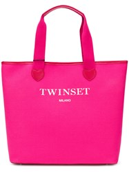Twin Set Logoed Heart Tote Bag Pink And Purple