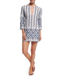Miguelina Darla Printed Cotton Coverup Dress Women's Pure White