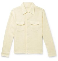 Our Legacy Oversized Waffle Knit Merino Wool And Mohair Blend Overshirt Cream