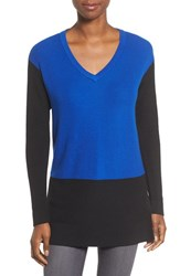 Vince Camuto Women's Colorblock Waffle Stitch V Neck Sweater Anchor Blue