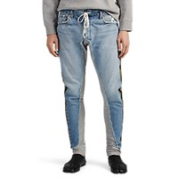 Greg Lauren Mixed Media Cotton Jogger Pants Blue