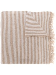 Danielapi Striped Fringe Scarf Nude And Neutrals