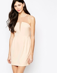 Aryn K Dress With Sheer Neckline White