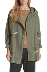 The Great Great. Embroidered Military Parka Army Green W Daisy