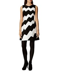 Karen Millen Zigzag Dress Black Ivory