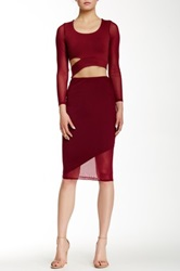 Donna Mizani Asymmetrical Midi Skirt Red