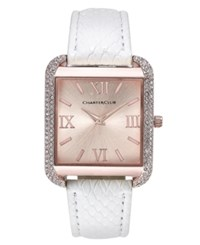 Charter Club Women's Rose Gold Tone White Faux Leather Bracelet Watch 32Mm Only At Macy's