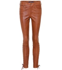Polo Ralph Lauren Leather Skinny Trousers Brown