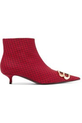 Balenciaga Knife Logo Embellished Houndstooth Wool Ankle Boots Red