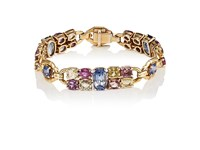 Stephanie Windsor Antiques Women's Sapphire Embellished Yellow Gold Bracelet Blue